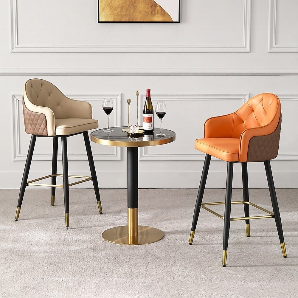 Modern Bar Stool Beige/Orange Leather Counter HT Bar Stool with Footrest with Metal