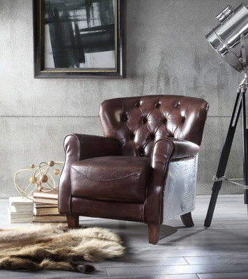 WESLEY GENUINE LEATHER | ACCENT CHAIR