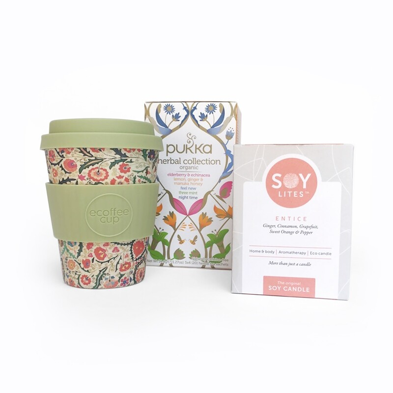 Get up & Glow - Ecoffee Cup, Soylite Candle & Pukka Herbal Organic Tea Gift Set