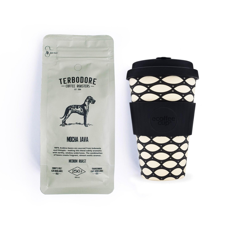 Mocha in a Basket - Terbodore Moch Java Coffee & Ecoffee Cup Gift set