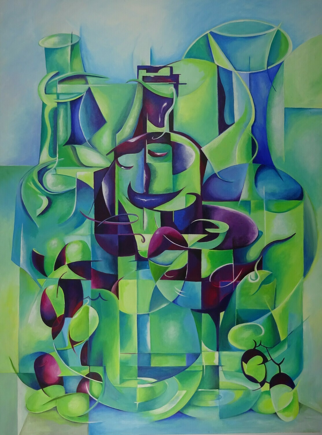 Abstract Bottles and glass