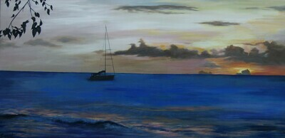 A Barbados Seascape at sunset