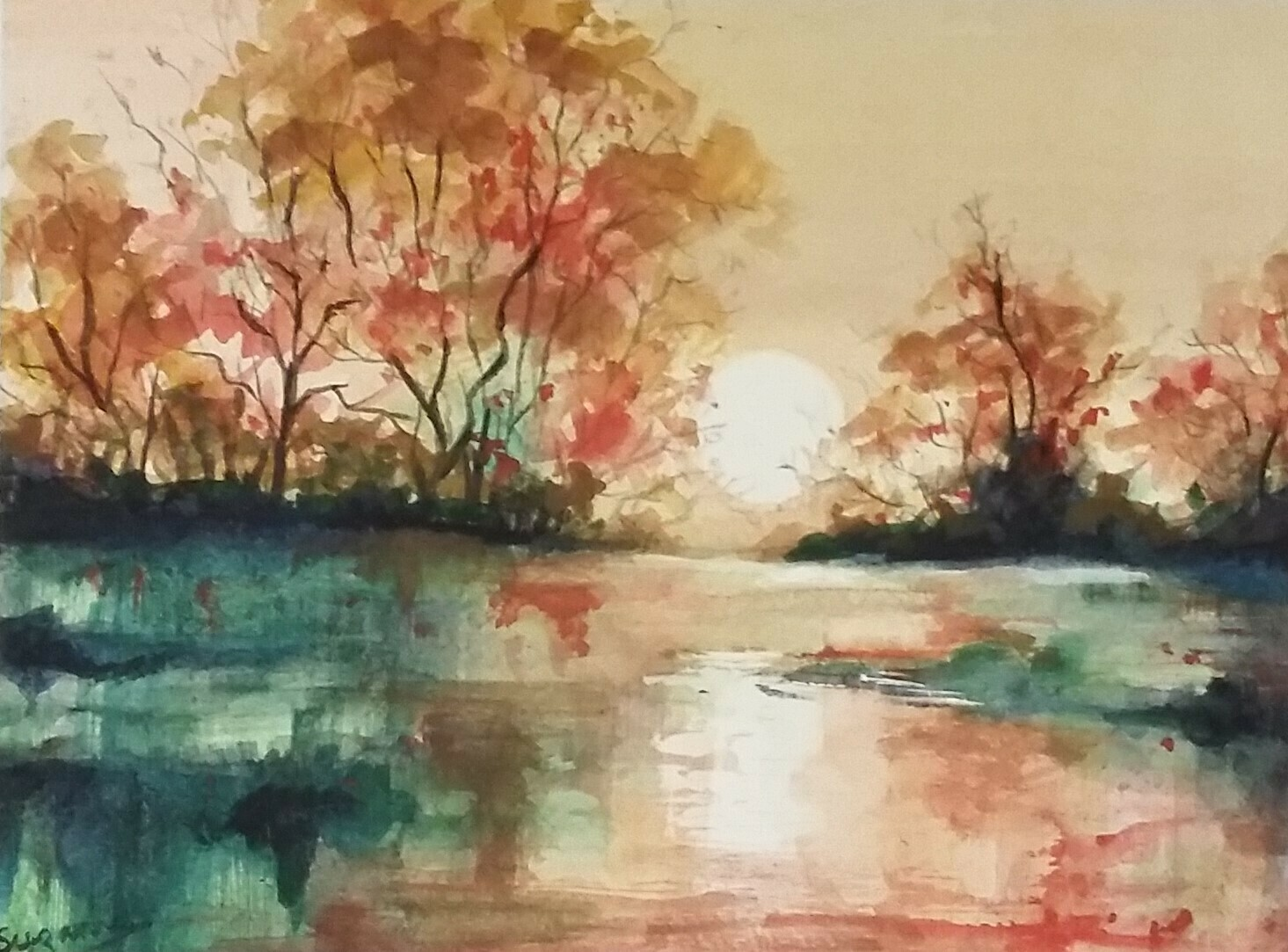 Autumnal English landscape at dawn.