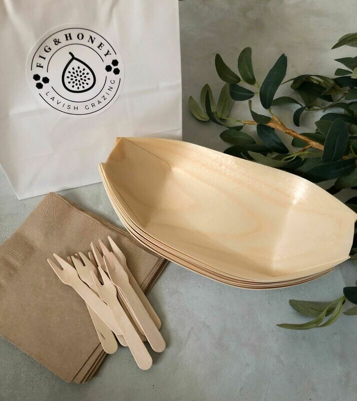 Plates/Napkins and mini forks (sold by sets of 10)