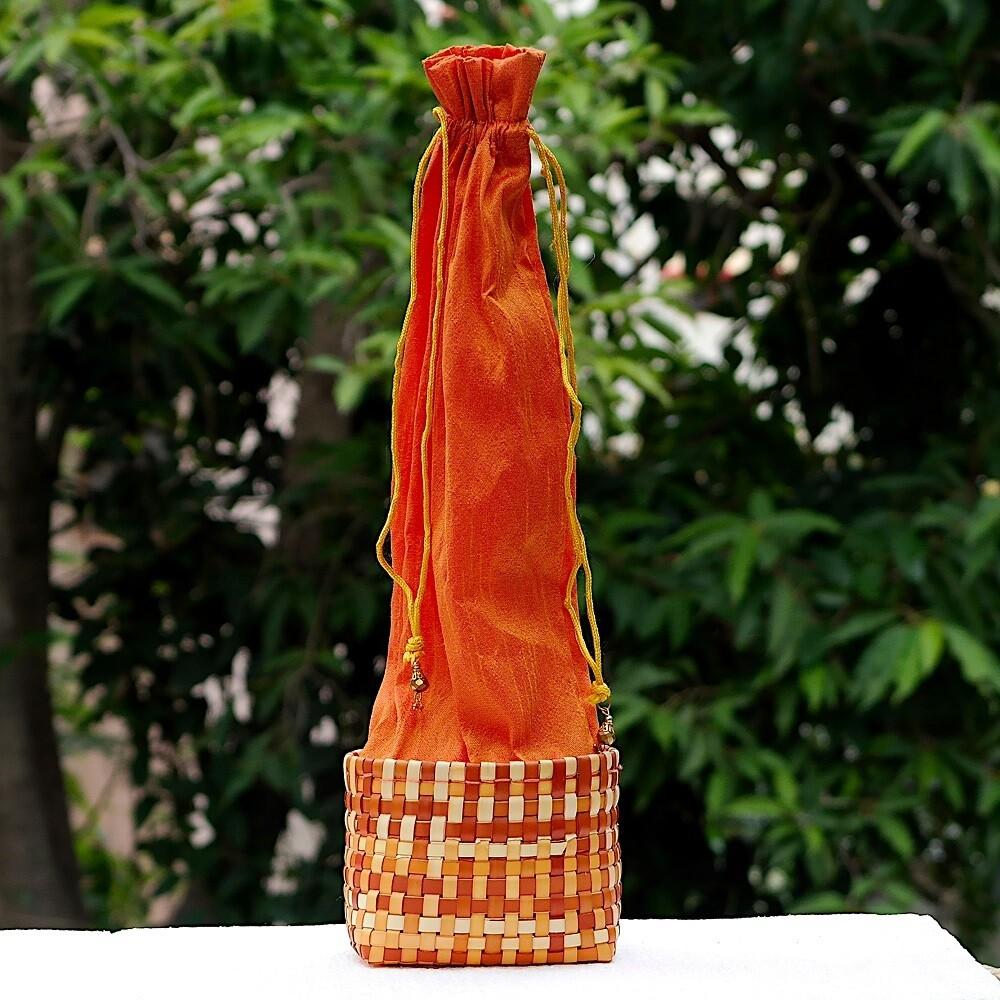 Palm & Raw Silk Wine Bottle Holder