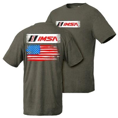 IMSA Flag Design Tee - Olive Heather