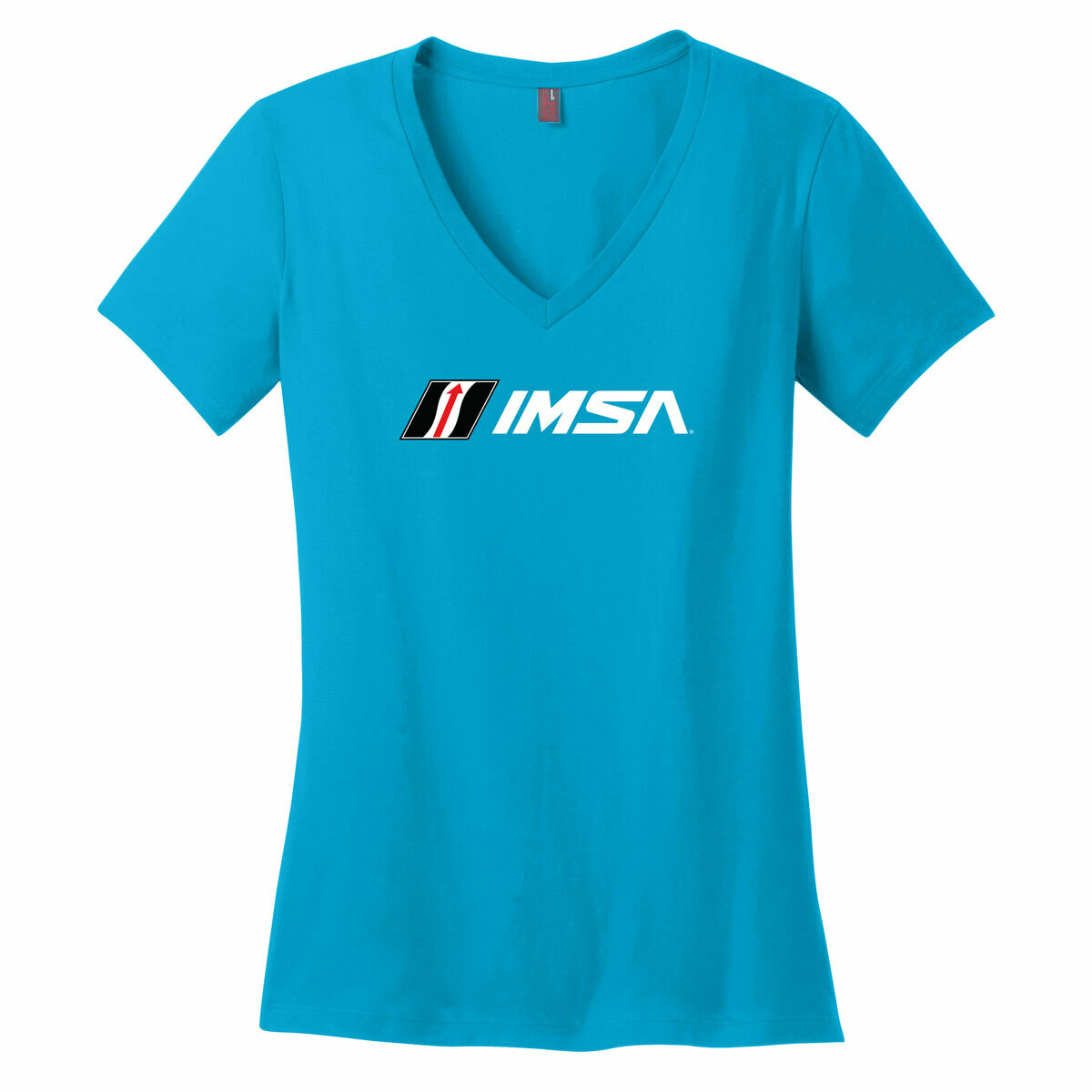 IMSA Logo Ladies V-Neck Tee- Bright Turquoise