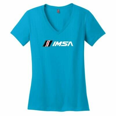 IMSA Logo Ladies V-Neck Tee- Bright Turquoise