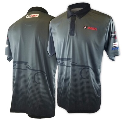 IMSA Logos With Car Outline Polo-Grey/Black