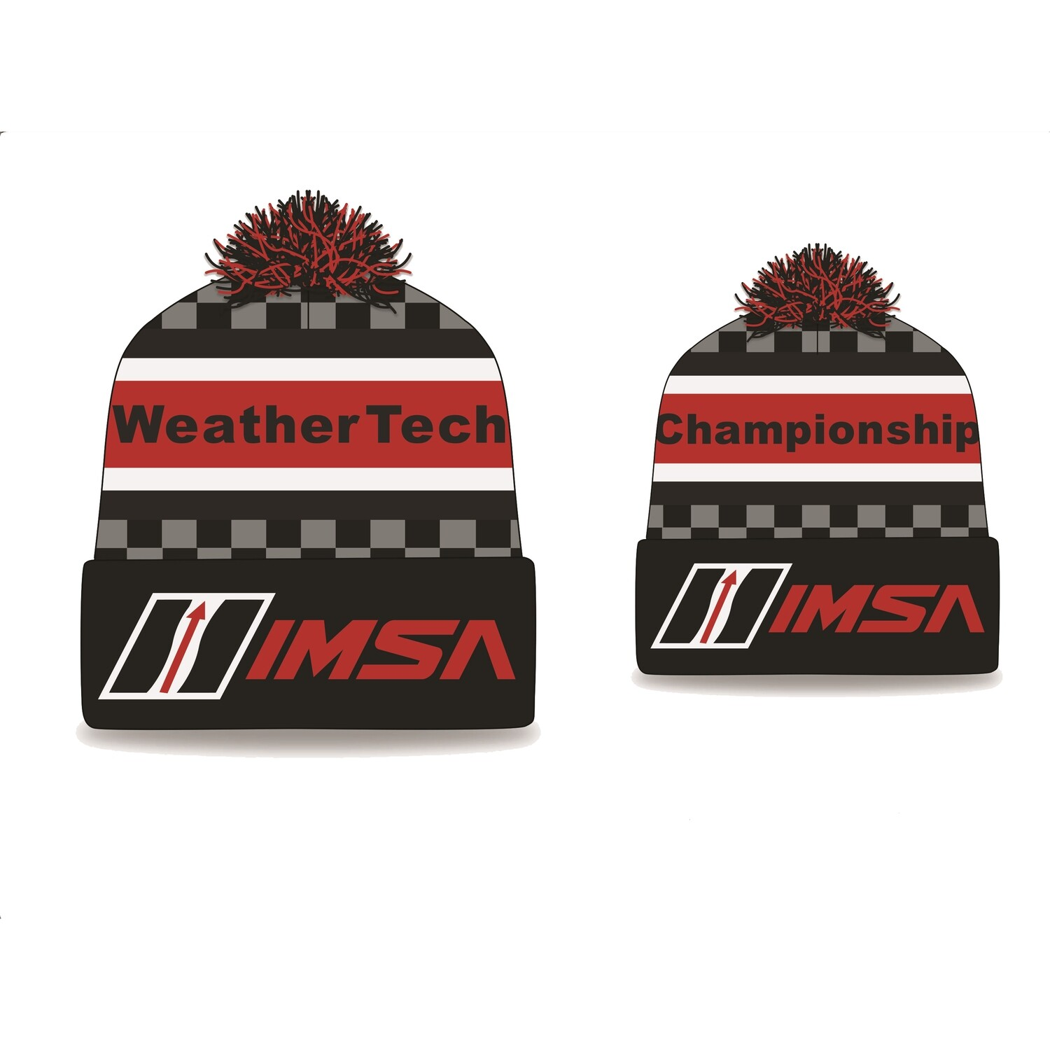 IMSA WTCS Knit-in Stocking Cap - Black/Red/White