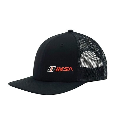 IMSA Flat Bill Hat Left Panel Logo - Black