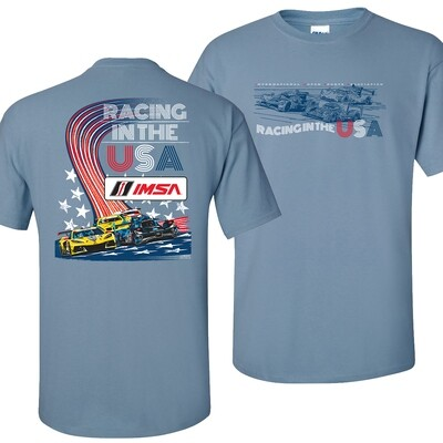 Racing USA Tee-Stone Blue