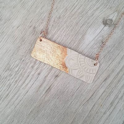 Rose gold rectangle pendant