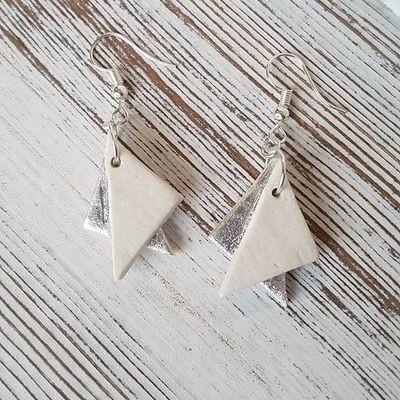 Silver origami earrings