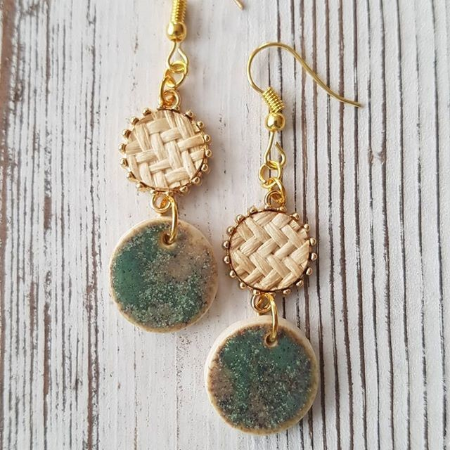 Bamboo and antique copper circle earrings