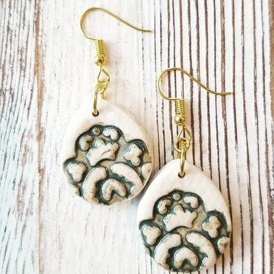 Asian blue imprint drop earrings