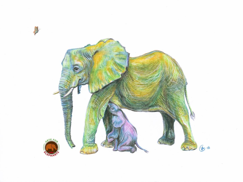 Lualeni & Lulu Elephant Large Fine Art Print