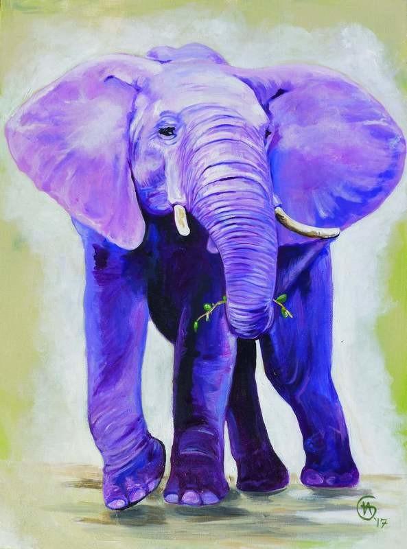 100% Wild Elephant Painting- Large Fine Art Print