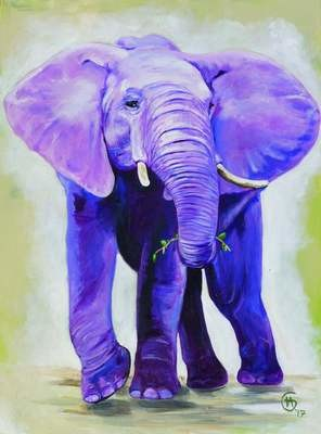 100% Wild Elephant Painting- Large Fine Art Print