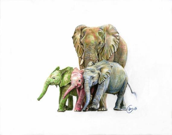 Eloise, and Three Baby Elephants Large Print