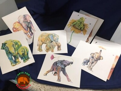 ALL NEW DESIGNS- SET OF 8 Charming Elephant Cards- 8 Assorted Elephant Portraits 4 x 6 inch cards!