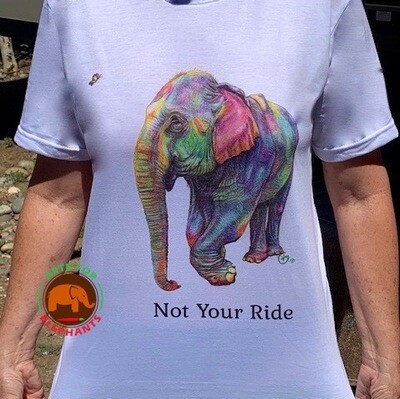 NEW! NOT YOUR RIDE- Colorful Summer Elephant  T-Shirt
