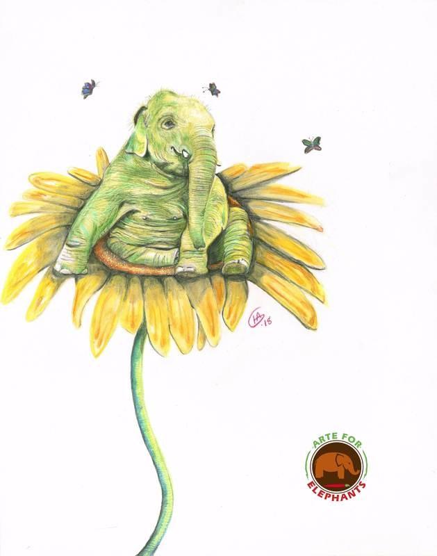 Navaan on a Sun Flower Large Print