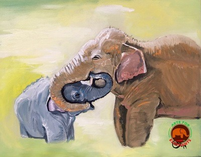 Mommy & Me- Original Acrylic on Canvas T. Rutter