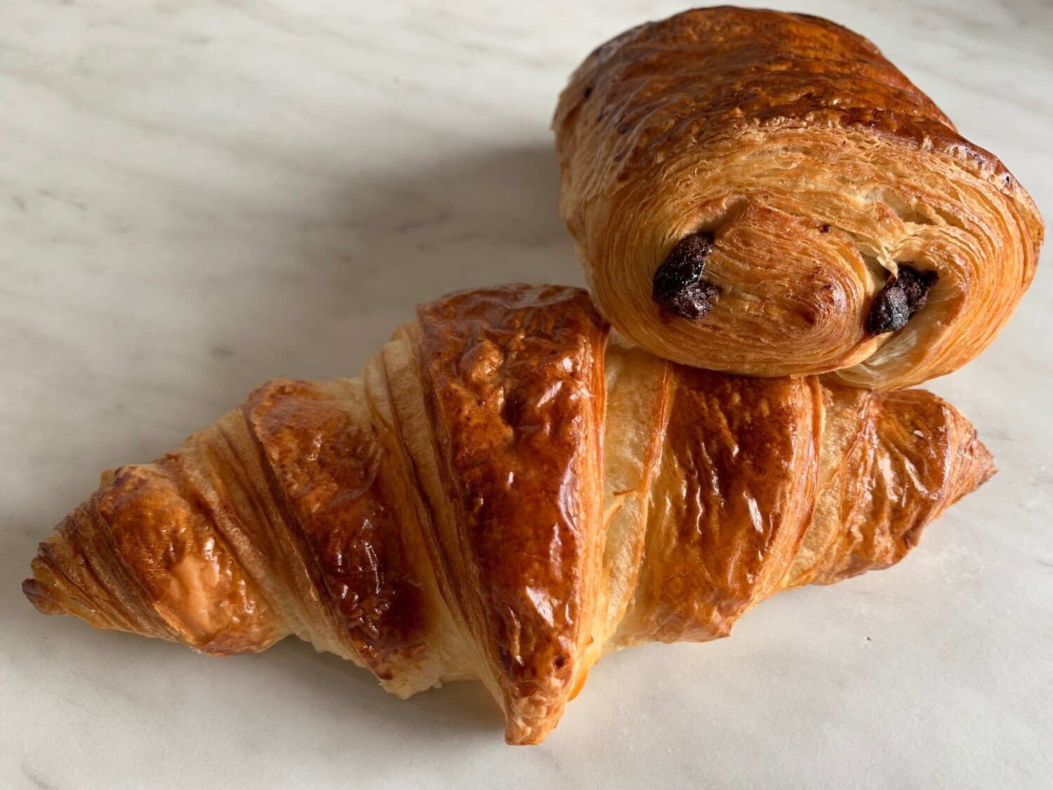 4 french pastries ( 2 butter croissant and 2 pain chocolat)
