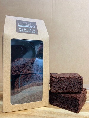 4 slices of Belgian chocolate brownies in a gift box