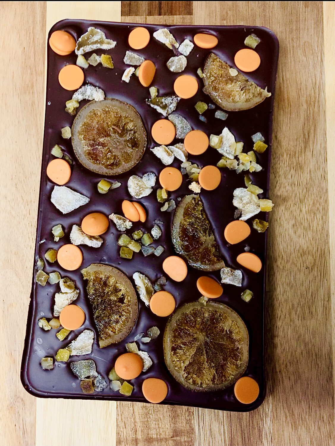 When life give you citrus... : Dark chocolate, candied orange and ginger.