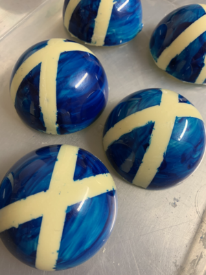 Saltire themed hot chocolate bombs - WHITE CHOCOLATE