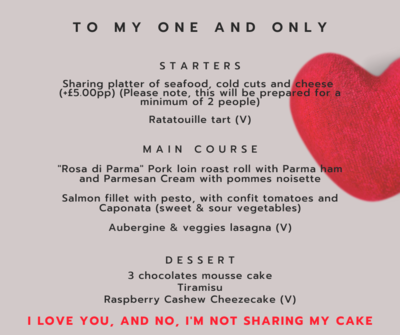 Valentine's Dinner - Ready Meal - Per Person