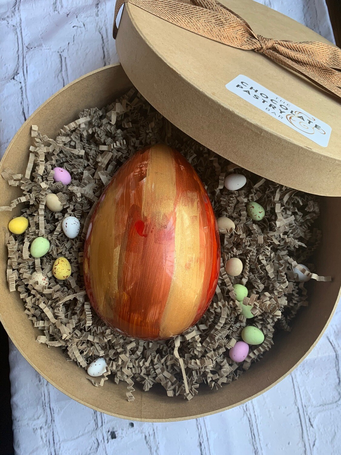 Extra Large Hand Painted Easter egg with Natural coloured cocoa butters- 250-300gr