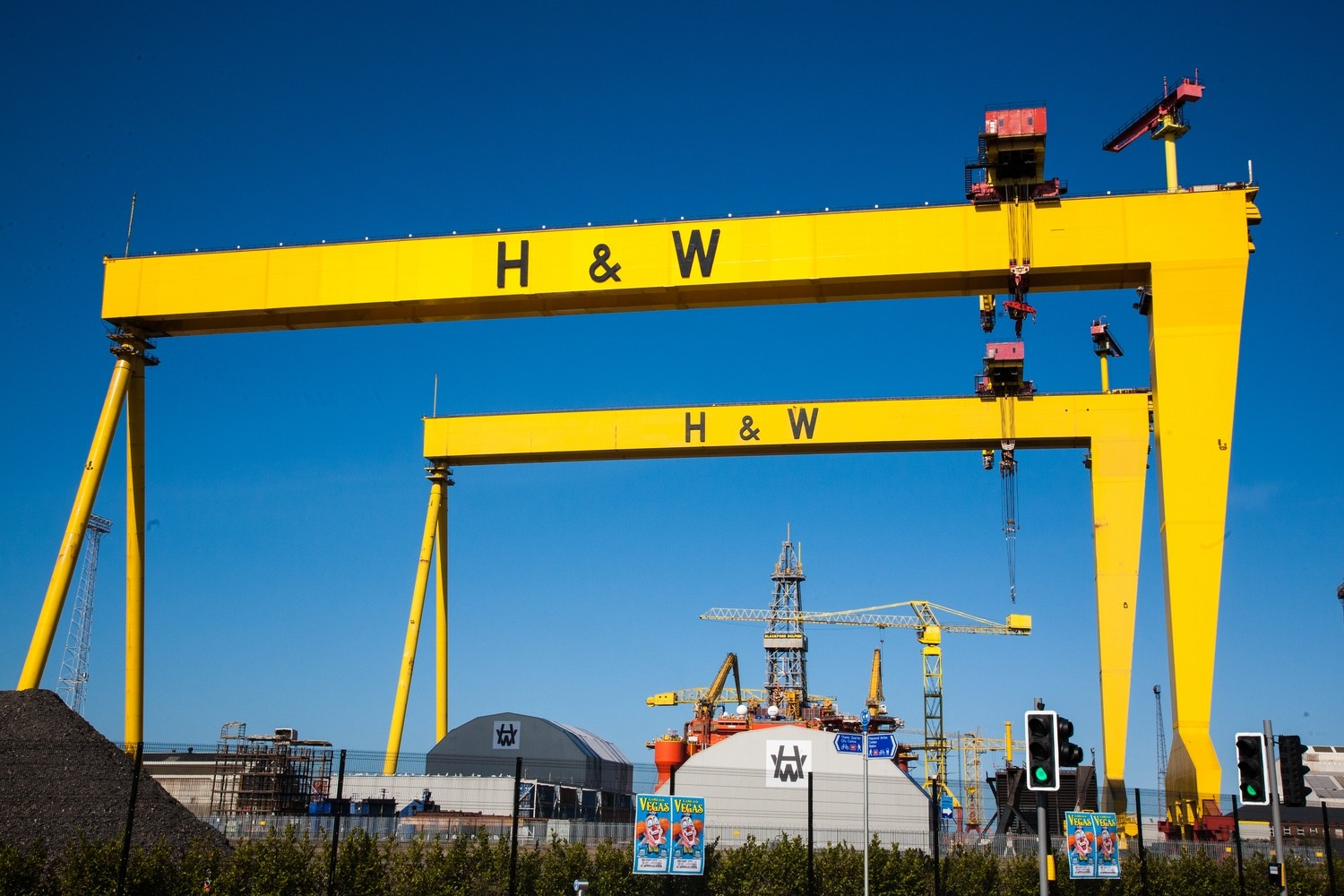 Harland and Wolf Cranes in Belfast Titanic quarter