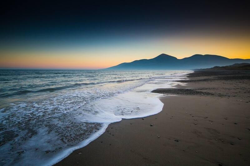 The Mourne Mountains from Murlough beach at sunset