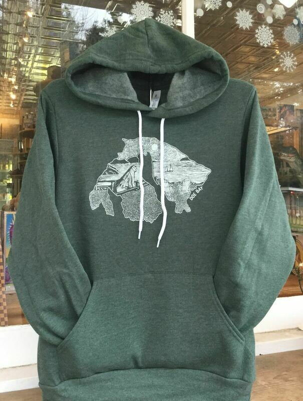 Heathered Forest Green Hoody With Island Design