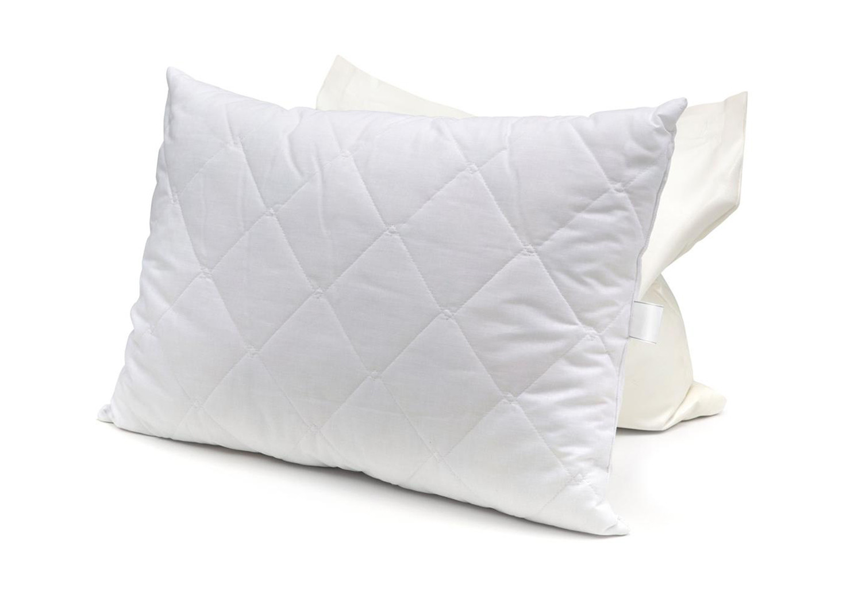 Подушка стеганая 50*70 лебяжий пух/микрофибра белая
