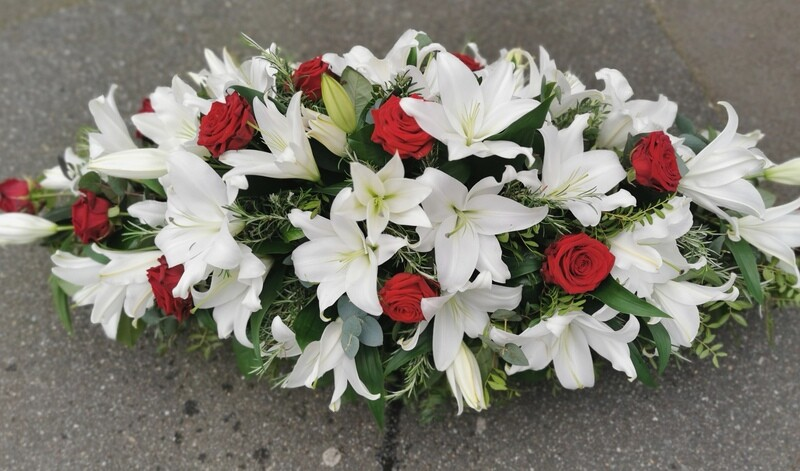 Rose and lily coffin spray