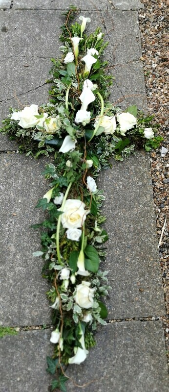 Calla, rose and willow cross