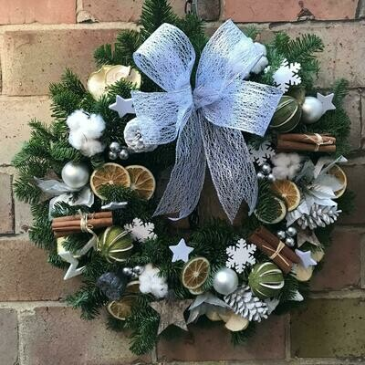 White and silver door wreath