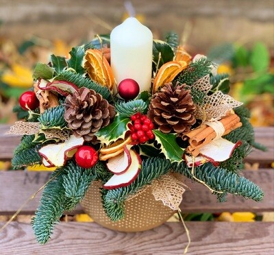 Golden flicker candle arrangement