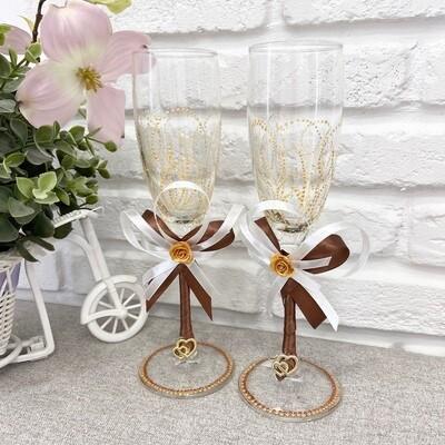 Свадебные бокалы (ручной работы,шоколад)