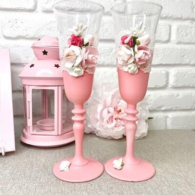 Свадебные бокалы (ручной работы, нежно-розовые с цветами)