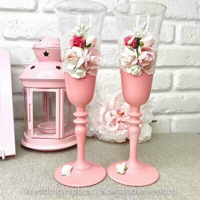 Бокалы свадебные (розовые с цветочками)