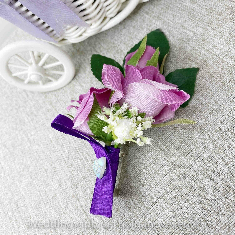 Бутоньерка для свидетеля (фиолетовая)