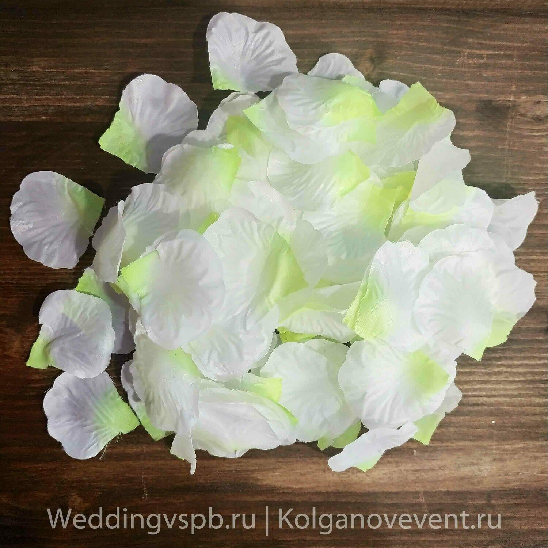 Лепестки роз искусственные (желто-белые)