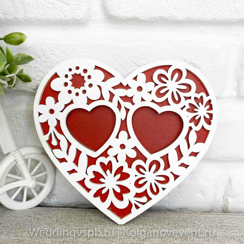 """Подставка под кольца """"Сердце"""" (красная, деревянная, резная)"""