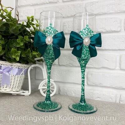 Свадебные бокалы (изумрудная роспись)