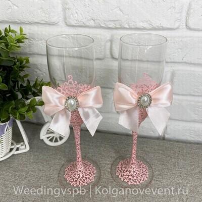 Свадебные бокалы (нежно розовые)